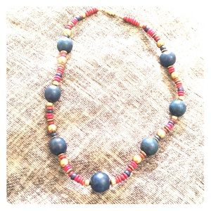 Autumn tones 1960s choker wood beads navy crimson